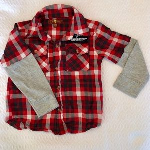 7 For All Mankind Red Plaid Fleece Button Up